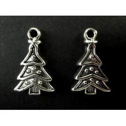 2x Weihnachtsbaum Anhänger ca. 23x14mm X-Mas silberfarbener Schmuckanhänger - Schmuckzubehör Weihnachten