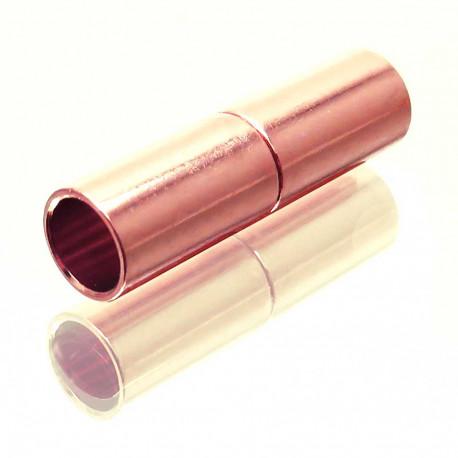 Rosegoldfarbener Magnet Verschluss 5x15mm Innen 4mm Verschluss zum Einkleben Zylinder - Schmuckzubehör
