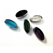 Bunter Perlenmix aus Fensterperlen 18x10mm oval mit Silberrahmen - Schmuckzubehör