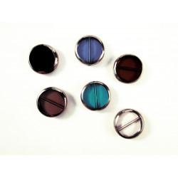 Bunter Perlenmix aus Fensterperlen 14x4mm rund mit Silberrahmen - Schmuckzubehör