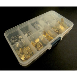 Sortierbox mit verschiedenen Bandklemmen in Größen als Schmuckzubehör Set