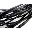 1m schwarze PU-Lederkordel 5mm Kunstlederband für Lederarmband geflochten - Schmuckzubehör