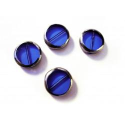 4x blaue Fensterperle 14mm rund mit Silberrahmen Kristallglas - Schmuckzubehör