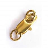 1x schlichter gold Karabinerhaken 6x12x3mm goldfarbener Schmuckverschluss - Schmuckzubehör