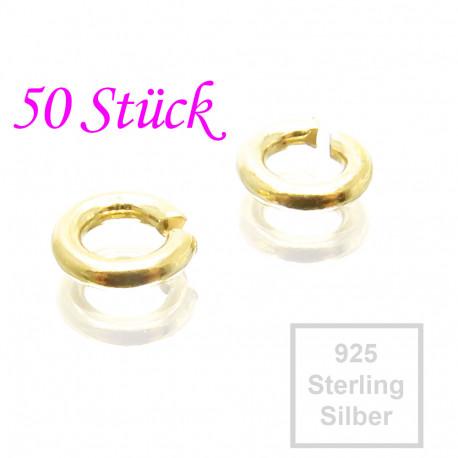 50x 925er Biegeringe 4,3mm x 0,7mm vergoldet Sterling Silber Binderinge - Schmuckzubehör Biegering