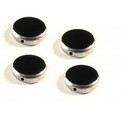 4x Schwarze Fensterperle 14mm rund Silberrahmen - Schmuckzubehör