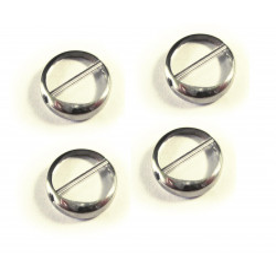 4x Weiss transparente Fensterperle 14mm rund Silberrahmen - Schmuckzubehör