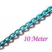10m blaue Kette aus Aluminium 6x3.5mm azurblaue Gliederkette - Schmuckzubehör Gliederkette