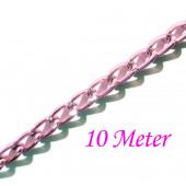10m rosa Alukette 6x3.5mm Gliederkette - Schmuckzubehör