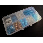 Box mit türkis gold silber Perlenmix aus Acrylperlen - Schmuckzubehör Set