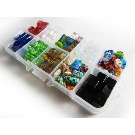 Bunter Perlenmix aus Kristallglas, Glas und Millefiori - Schmuckzubehör Set