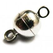 1x kleiner silber Magnetverschluss 11x5mm kugelförmig - Schmuckzubehör Magnetverschluss