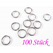 100x versilberter Ring 14mm geschlossen rund in hellsilberfarben Bindering - Schmuckzubehör