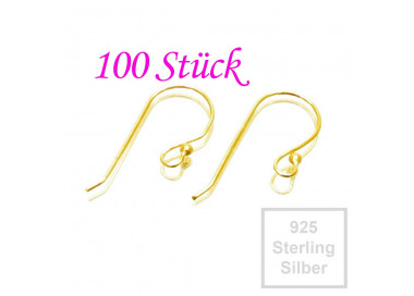 100x vergoldete 925er Ohrhaken 24x16mm Sterling Silber - Schmuckzubehör