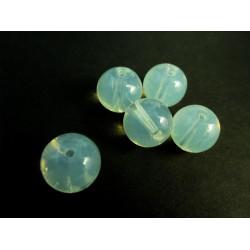 5 weisse Opal Glasperlen rund 12mm Opalglas - Schmuckzubehör