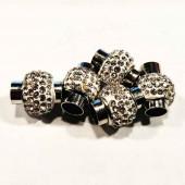 Silberfarbener Strass Magnet Verschluss 14x18mm Innen 7mm Edelstahl Verschluss zum Einkleben Zylinder - Schmuckzubehör