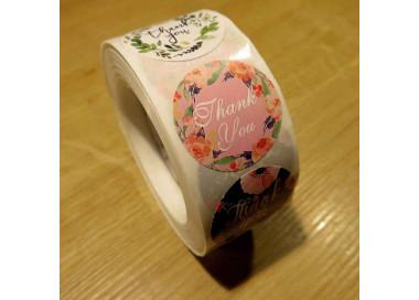 500 Sticker Durchmesser 25mm 'Thank You' bunte Aufkleber DIY - Schmuckzubehör Schmuckverpackung