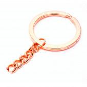Rosegoldfarben Schlüsselring II. WAHL 28mm mit Kette - Schlüsselanhänger