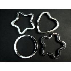 Schlüsselring 4er Set aus Stern + Herz + Blume + Ring silberfarben stabil und massiv - Schmuckzubehör