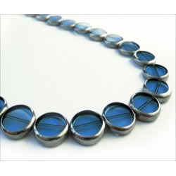 1 Strang blaue Fensterperlen 14mm rund mit Silberrahmen Kristallglas - Schmuckzubehör