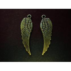 2x große Engelsflügel ca. 30x10mm bronzefarbene Schmuckanhänger - Schmuckzubehör