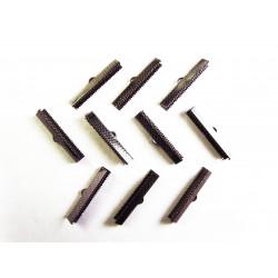 10x Bandklemme 35mm dunkel metallfarben / schwarz - Schmuckzubehör