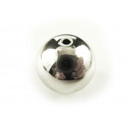 1x große versilberte Acryl Perle 20mm glatt silberfarben - Schmuckzubehör