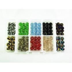 Bunter Perlenmix aus 120 geschliffenen Kristallglasperlen 8mm - Schmuckzubehör Set