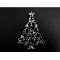 1x großer silberfarbener Weihnachtsbaum ca. 52x36mm X-Mas Anhänger/Deko - Schmuckzubehör
