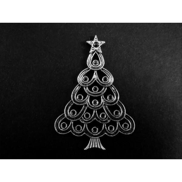 silber weihnachtsbaum 52x36mm x mas anh nger deko. Black Bedroom Furniture Sets. Home Design Ideas