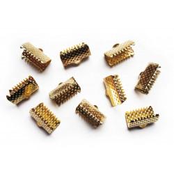 10x Bandklemme 13mm goldfarben - Schmuckzubehör