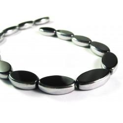 1 Strang schwarze Fensterperlen 18mm oval mit Silberrahmen Kristallglas - Schmuckzubehör