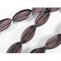 1 Strang lila / violett Fensterperlen 18mm oval mit Silberrahmen Kristallglas - Schmuckzubehör