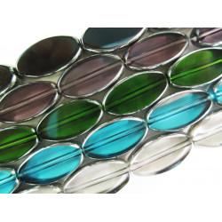 5 Stränge bunte Fensterperlen 18mm oval mit Silberrahmen Kristallglas - Schmuckzubehör