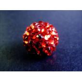 1x rote Shamballa 16mm Strass Perle leuchtend rot - Schmuckzubehör