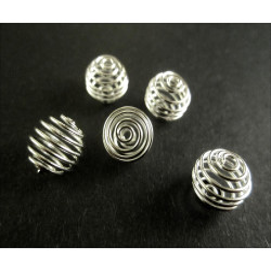 5x Spiralen Metallperle ca. 9x10mm versilbert platinfarben - Schmuckzubehör