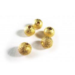 5x angerauhte Metallperlen 6mm goldfarben Kugel Spacer - Schmuckzubehör
