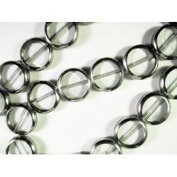 1 Strang weiss transparente Fensterperlen 14mm rund mit Silberrahmen Kristallglas - Schmuckzubehör