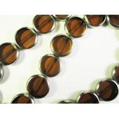 1 Strang braune Fensterperlen 14mm rund mit Silberrahmen Kristallglas - Schmuckzubehör