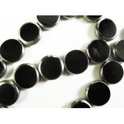 1 Strang schwarze Fensterperlen 14mm rund mit Silberrahmen Kristallglas - Schmuckzubehör