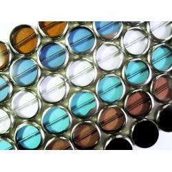 6 Stränge bunte Fensterperlen 14mm rund mit Silberrahmen Kristallglas - Schmuckzubehör