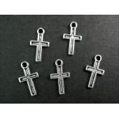 5x kleiner Kreuz Anhänger silberfarben Kruzifix ca. 15x8mm Schmuckanhänger - Schmuckzubehör