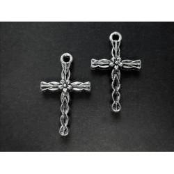 2x Kreuz Anhänger Kruzifix silberfarben Schmuckanhänger ca. 24x15mm - Schmuckzubehör