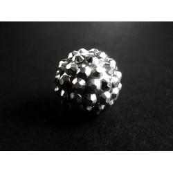 1x schwarz-silber Shamballa 16mm schwarz-silber Strass Perle - Schmuckzubehör