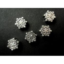 5x Metallperlen Schneeflocke 8x3mm silberfarben Metallspacer - Schmuckzubehör