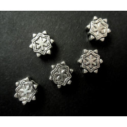 5x Metallperlen Schneeflocke 8x3mm silberfarben Metallspacer - Schmuckzubehör Metallperle