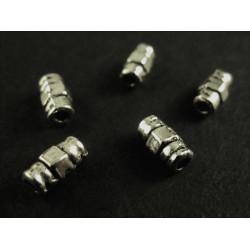 5x Metallperle Tube Röhre 6x3mm silberfarben Spacer - Schmuckzubehör