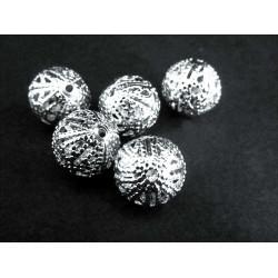 5x filigrane Metallperlen 10mm platinfarben Kugel Spacer - Schmuckzubehör