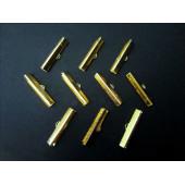 10x Bandklemme 30mm goldfarben - Schmuckzubehör