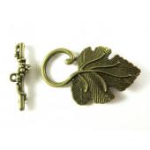1x bronze Weinblatt Knebelverschluss bronzefarben Toggle - Schmuckzubehör